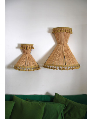 Honor dcoration contemporary lighting design lamps wicker shades raffia wall lamp raffia pompom12041 mozeypictures Gallery
